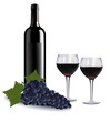 A wine bottle, two glasses of red wine and grapes. Vector.