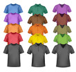 Black and colored t-shirts. Photo-realistic vector.
