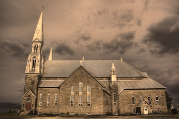 Old Stone and Brick Church in Dalhousie, New Brunswick