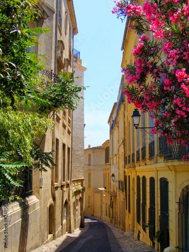 kwiaty-wyklada-waska-ulice-w-starym-montpellier-francja