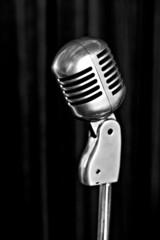 retro styled microphone b&w