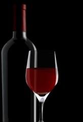 red wine glass & bottle