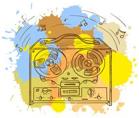 Grunge Retro Musical player (tape recorder)