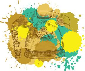 Grunge vintage telephone