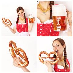 bayrisches Madl im Dirndl mit Bier COLLAGE