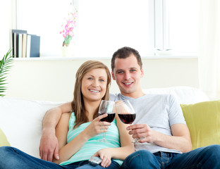 Young embracing  couple sitting on the sofa drinking wine