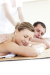 Relaxed caucasian couple enjoying a back massage