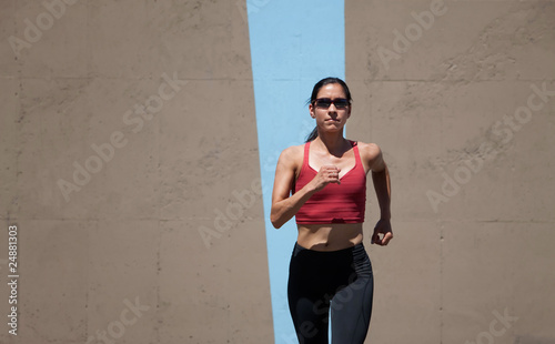 Single woman running