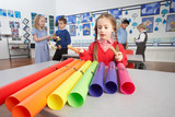 Group Of Primary Schoolchildren Having Music Lesson In Classroom poster