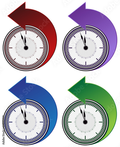 Backwards Clock Arrow Set