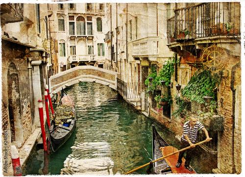 Fototapeta channels of Venice - artwork in painting style