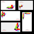 set of business card with abstract colors.