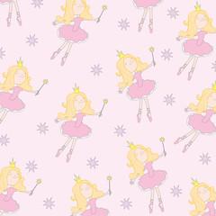 Seamless vector illustration of fairy princess