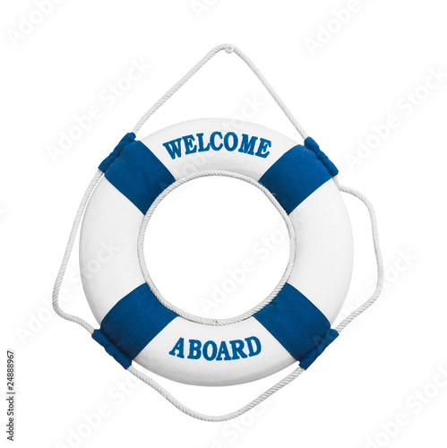 Welcome aboard isolated on white background