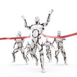 The robot crosses the finish tape