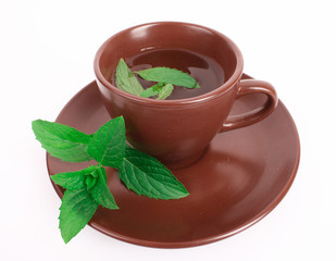 Cup of green tea on the saucer with mint isolated on white
