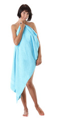 beautiful sexy woman with blue towel before spa treatment. Serie