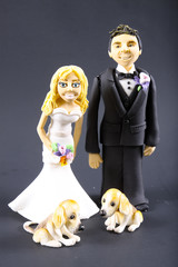 Fondant Bride and Groom with Dogs Wedding Cake Topper