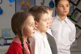 Portrait Of Group Of Primary Schoolchildren Standing In Classroo poster