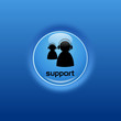Button Support glow blau