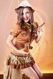 Cute girl awaits for a gentleman to light up her Havana cigar poster