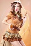 Cute girl awaits for a gentleman to light up her Havana cidar poster