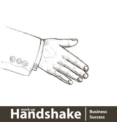 Vector illustration. Business man giving a hand shake on white
