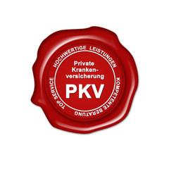 pkv, private krankenversicherung, button, siegel, stempel