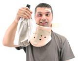 Alcoholic man with black eye wearing neck brace isolated. poster