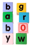 baby grow in toy play block letters with clipping path