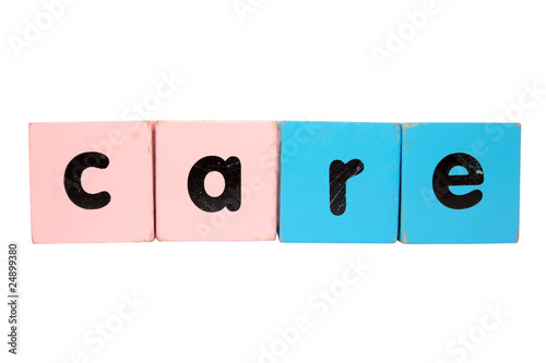 care in toy play block letters with clipping path on white