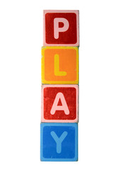 play in toy play block letters with clipping path on white