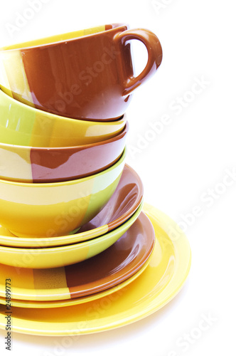 pile of dishes isolated on a white background