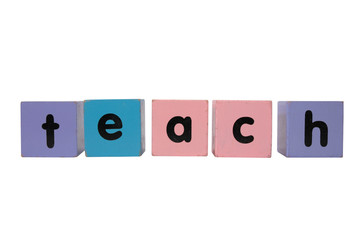 teach spelt in toy play block letters with clipping path