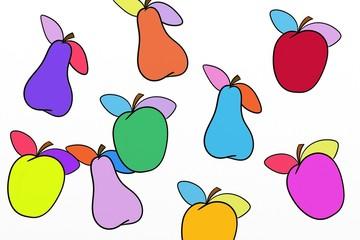 mele e pere colorate