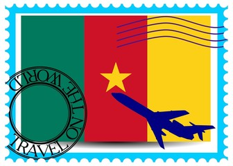 "Stamp ""Cameroon (Yaoundé), travel by plane on the world"""