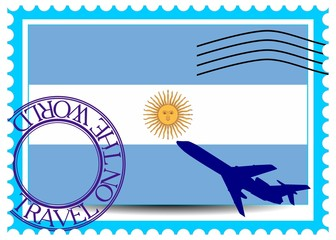 "Stamp ""Argentina (Buenos Aires), travel by plane on the world"""