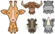 Vector set of cartoon wild or zoo animals.