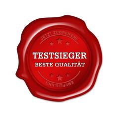 testsieger, beste Qualität, siegel, button, stempel
