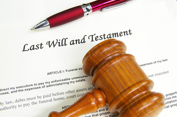 Last Will and Testment document with gavel and pen