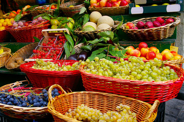 fresh fruits and vegetables at a farmer's market