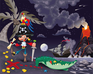 Pirate on the island in the night. Vector scene.