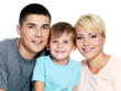 Happy faces of  young smiling family  - On white background