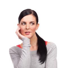 Portrait of young nervous woman