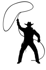 illustration of cowboy with lasso on a white
