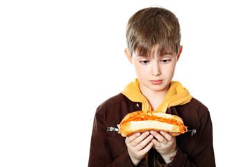 boy with hotdog