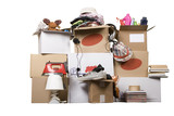 transport cardboard boxes, relocation concept poster