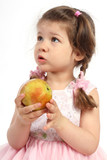 Little girl with pigtails eating ripe apple poster