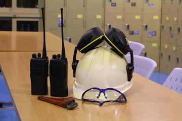 white helmet and different tools