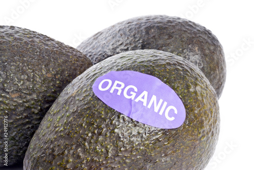 Organic Avocados Isolated on White
